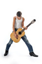 Child plays guitar Stock Image