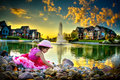 Child by the pond Royalty Free Stock Photo
