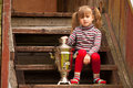 Child posing sitting near the Russian Samovar Stock Photos