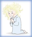 Child prays to god little girl stands before on his knees and Stock Image