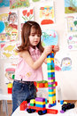 Child preschooler play construction set. Stock Image