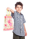 Child with present bag Stock Photo