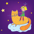 Child princess girl on the cat fairytale cartoon Royalty Free Stock Image