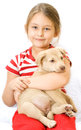 Child and puppy beautiful little girl Stock Photos