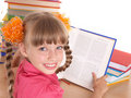 Child reading open  book on table. Royalty Free Stock Photos
