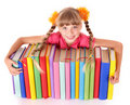 Child reading open  book on table. Stock Photo
