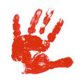 Child red hand print Stock Photo