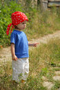 Child with red kerchief Royalty Free Stock Photography