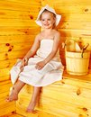 Child relaxing at sauna. Royalty Free Stock Images