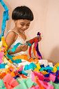 Child & Ribbons Royalty Free Stock Images