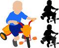 Child riding tricycle silhouette and illustration Royalty Free Stock Images