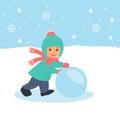 The Child Rolls A Snowball. Wa...