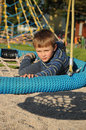 Child on round swing Royalty Free Stock Photography
