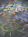 Child's chalk drawing Stock Photos