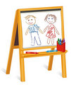 Child's Crayon Drawings on Wooden Easel Stock Images