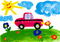 Child s drawing car rides on a meadow watercolor Stock Photos