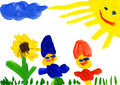 Child s drawing child on flower meadow watercolor Stock Photos