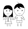 Child s drawing of a couple on white background Royalty Free Stock Image