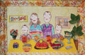 Child's drawing of family. Happy family with two children Royalty Free Stock Photo