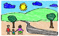 Child s drawing of family in nature chidren style mother father and girl standing outside with trees sun clouds and river Royalty Free Stock Photography