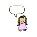 Child s drawing of a girl retro cartoon with texture isolated on white Royalty Free Stock Photography