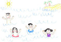 Child's drawing happy family in sea Royalty Free Stock Photos