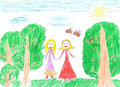 Child`s drawing happy family