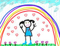 Child's Drawing of Herself Protected & Happy Stock Image