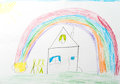 Child`s drawing. home rainbow happy family Royalty Free Stock Photo