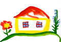 Child s drawing house in the village watercolor Royalty Free Stock Image