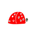 Child s drawing of a ladybug retro cartoon with texture isolated on white Stock Photo