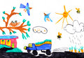 Child's drawing on paper Royalty Free Stock Photography