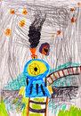 Child's drawing on paper Royalty Free Stock Photo