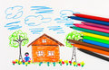 Child s drawing and pens abstract art background Stock Photography