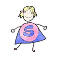 Child's drawing of a superhero girl Stock Photo