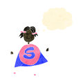 Child's drawing of a superhero woman with thought bubble, Royalty Free Stock Images
