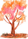 Child's drawing watercolor. Autumn tree Royalty Free Stock Photos