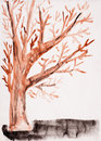 Child's drawing watercolor. Autumn tree Stock Image