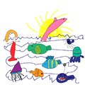 Child`s drawings, doodle style, cute fish set, crayon, colorful pastel chalk, pencil, like kids hand drawn the sun and the sea ful