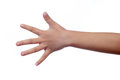 Child`s hand showing the number five Royalty Free Stock Photo