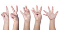 Child`s hands counting from one to five Royalty Free Stock Photo