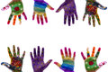 Child's hands painted watercolor on white background Royalty Free Stock Photo