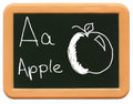 Child's Mini Chalkboard - A is for Apple Stock Photos