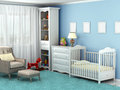 Child's room, where there is a chair, toys, furniture, flooring,