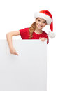 Child in santa helper hat with blank white board christmas x mas people advertisement sale concept happy girl Stock Images