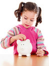 Child saving for a rainy day Royalty Free Stock Photo