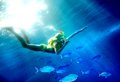Child scuba diver group coral fish blue water Stock Image