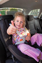 Child seated in child seat in the car Royalty Free Stock Photo