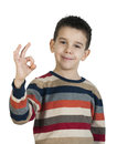 Child showing success symbol Royalty Free Stock Photos