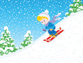 Child skiing down Royalty Free Stock Photo